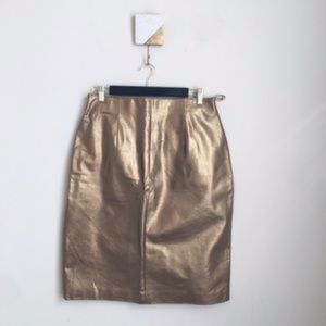 Vintage Bronze Gold Leather Pencil Skirt